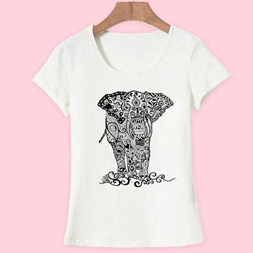 XIAOBAOZITXU Sommer T-Shirts Damenmode Kurzarm Oansatz T-Shirt Elefant Gedruckt Top Crop (Weiß) XXL