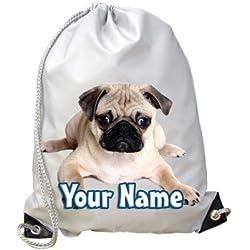 Mochila infantil con diseño de perro carlino y texto personalizado