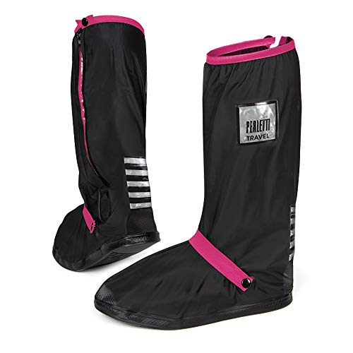 High Black Over Shoe Covers Waterproof Durable Reusable Lightweight - Mud Rain Long Protectors Non Slip Sole Reflective Inserts - Overshoe Boot Cover Resistant Strong - Perletti