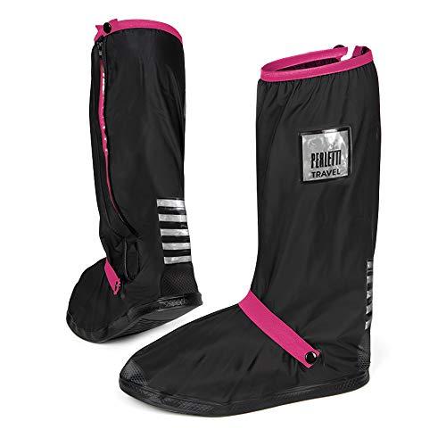 PERLETTI Überschuhe Schwarz Wasserdicht Beständig Rutschfest - Schuhüberzieher Wiederverwendbar Verstärkt mit Reflektorstreifen - Hohe Regenschutz Galoschen für Regen Schnee (S (36/39 EU), Pink)