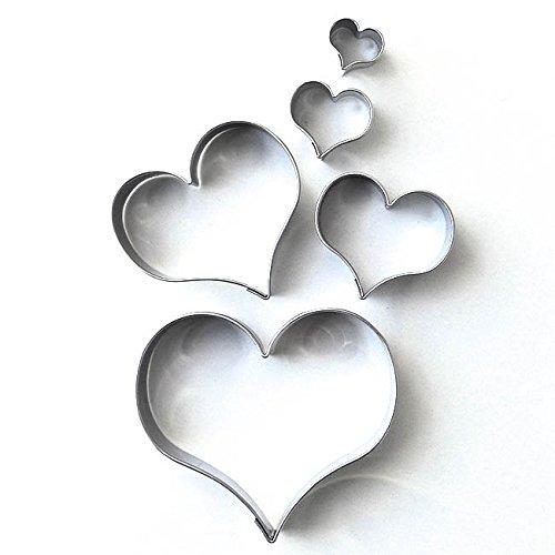 Herz 5er Set glatt gebogen Terassen - Ausstecher, Ausstechform aus Edelstahl