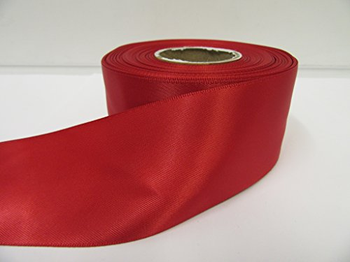 2 metres of 50mm, 2 Satin Ribbon, Dark Red, Double sided, Wedding Favours Decorative Easter Christmas by Beautiful Ribbon - 50mm (Double Red Satinband Sided)
