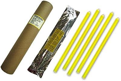 Cyalume - Paquete de 20 tubos luminosos SnapLight Non-Impact, 40 cm, 15 pulgadas, 1 Anilla, 12 horas, embalados individualmente, color amarillo