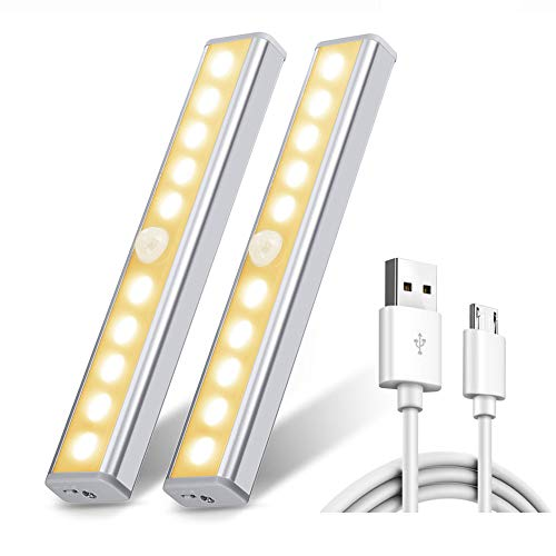 Chesbung Luce per Armadio, [2pcs ] Luce Wireless a 10 LED con Sensore di Movimento, Luce Notturna Portatile con Striscia Magnetica per Armadio, Scale, Notte, Corridoio,Viottolo, Muro-Bianco Caldo