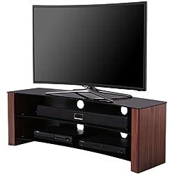 """'1home–Soporte de TV curvada encaja o curvado OLED LCD LED Plasma TV plana de 32–55""""4K Ultra HD Smart 3d televisores, negro cristal efecto de madera de nogal"""
