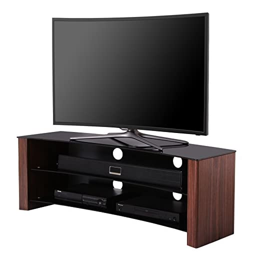 1HOME-curvo-TV-stand-Fits-32-1397-cm-4-K-Ultra-HD-Flat-or-Curved-OLED-LCD-LED-e-Plasma-Smart-TV-3D-in-vetro-nero-effetto-legno-di-noce