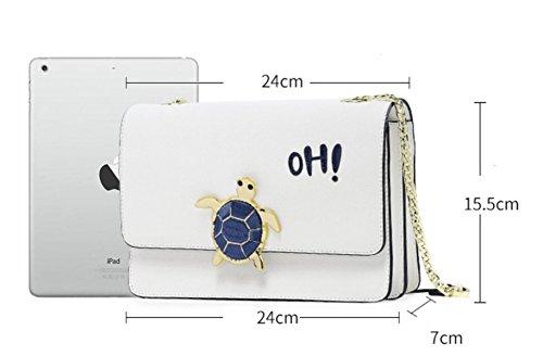 FZHLY Semplice Selvaggio Borse Freschi Versione Coreana Della Catena Messenger Bag,DeepSeaBlue PlayfulWhite