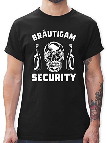 JGA Junggesellenabschied - Bräutigam Security Totenkopf - M - Schwarz - L190 - Herren T-Shirt und Männer Tshirt