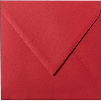 25 Square Envelopes 15x 15cm, 150 x 150 mm, Colour: Pink Red, Self-Adhesive with Triangular Flap without Moistening