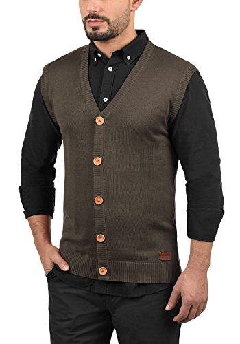 BLEND Lennardo Herren Pullunder Weste Feinstrick Ärmellos mit V-Ausschnitt aus hochwertiger Baumwollmischung Meliert Mocca Mix (70816)