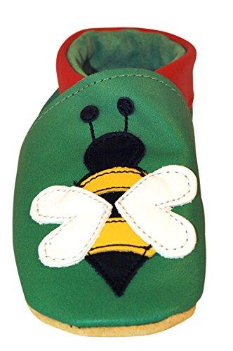 Three Little Imps Handgemachte weiche Kleinkind-Schuhe aus Leder - Beschäftigte Buzzy Biene auf Grünem Hintergrund 12-18m (BBGR) - Buzzy Bienen Schuhe