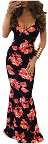 Sans manches Backless Cami V Neck Printed Bodycon Party Clubwear Dress Rouge