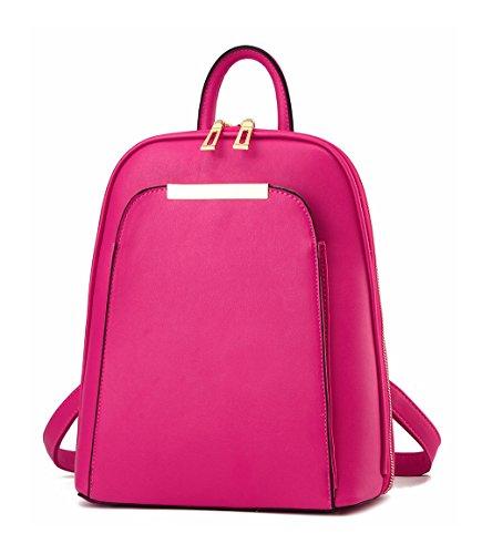 Keshi Pu neuer Stil Schulrucksäcke/Rucksack Damen/Mädchen Vintage Schule Rucksäcke mit Moderner Streifen für Teens Jungen Studenten Rosa