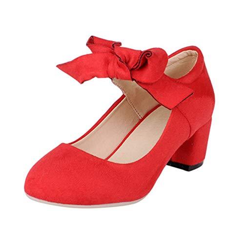 Mary Jane Schuhe für Frauen Heels Mitte Fersen Runde Zehe Pumpen Schmetterling dicken Knoten Highheels