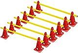 RHINOS sports Steckhürden Mini 6er-Set | 12 rote Kegel: 22,5cm | 6 gelbe Stangen: 60cm