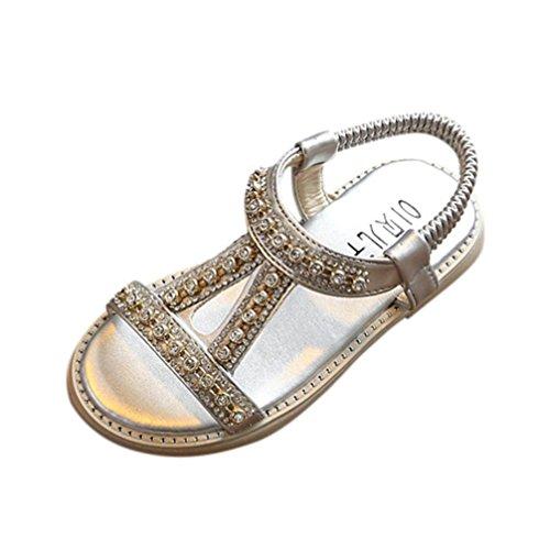Sandali romani bambino- per bambine e ragazze-sandali con cinturino alla caviglia-sandali di cristallo scarpe principessa romana-da spiaggia cerniera in pelle scarpe 20-29 (argento, eu:21)