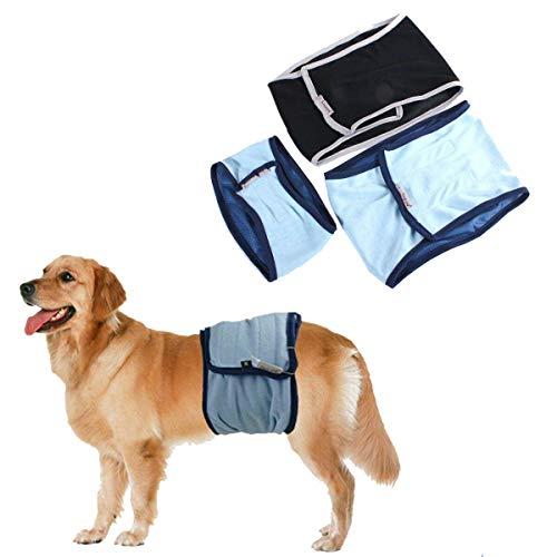 RUNI MO Puppy Sanitary Pants Unterwäsche, Männlicher Hund Puppy Belly Wrap Band Windel Windelhose Sanitary Underwear (Blau, M) -