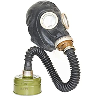 Gas Mask GP5 Set - Soviet Russian Military Gasmask REPLICA By Oldshop - Collectable Item Set W/ Mask, Hose, Filter & Bonus Anti-Fog Stickers Included - Authentic Look & Several Sizes Available Color: Black | Size: S (1Y)