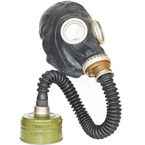 (OldShop Gasmaske GP5 Set - Sowjetische Militär Gasmaske Replica Sammlerstück Set W/ Maske, Hose,Tasche, Filter - authentischer Look & Verschiedene Größen erhältlich Farbe: Schwarz | Größe: XS)