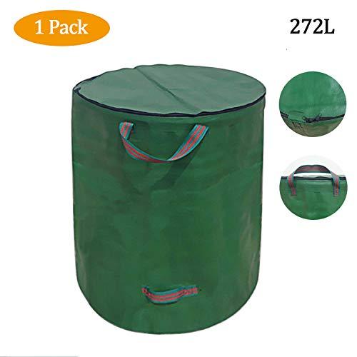 *MOSUNA Gartenabfallsäcke, 1 x 272L Große Hochleistungs Professional Wiederverwendbare Garten-Laubblumen-Müll-Aufbewahrungstasche mit Deckelgriffen (H76 cm, D67 cm)*