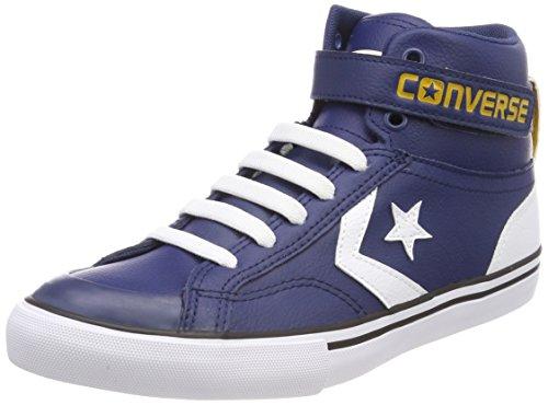 Converse Unisex-Kinder Pro Blaze Strap Hi Navy/White Hohe Sneaker, Blau (Navy/White/Mineral Yellow), 35 EU