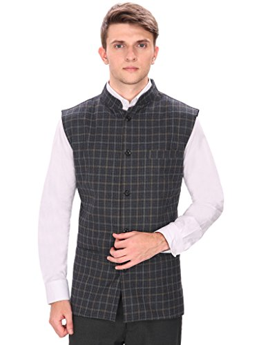 Routeen Black Casual Partywear Tweed Waistcoat Jackets for Men