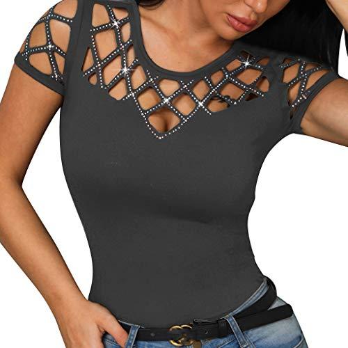 Yvelands Damen Mode T-Shirt Oansatz Kurzarm Aushöhlen Bling Nagel Perlen Casual Tops(Grau,XXL)