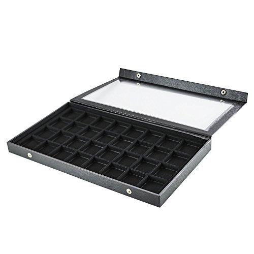 Schwarz Kunststoff Ohrring Schmuck Display Case 32Slots CLEAR Top für Home Organisation von Super Z Auslass 32 Slot, Display-trays