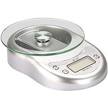 ROTIHYDA Báscula Escala de cocina 5Kg / 1G Escala de cocción de vidrio con LED Hierbas