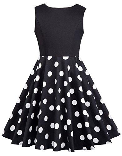 GRACE KARIN Suess Aermellos Kinder Kleid Polka dot Kleid 7-8 Jahre CL10600-1 (Für Kleid Süßes Kinder)