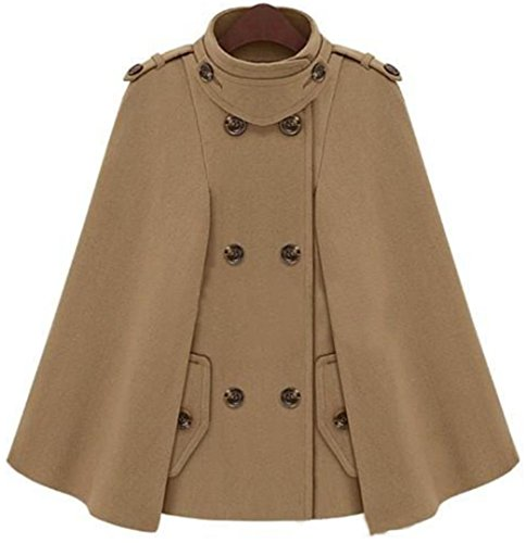 EVERY Damen Winter Mantel Wollmantel Jacke Parka Cape Modischem Design Elegant Stilvoll Winterjacke mit Zweireihigen Knöpfe Khaki