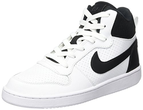 Nike Court Borough Mid GS, Zapatillas de Baloncesto Unisex niños, Blanco (White/Black), 38.5 EU