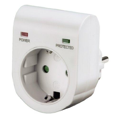 dsl blitzschutz Hama Überspannungsschutz Adapter (für z.B. Telefonanlage, Computer, Hifi und TV-Geräte, bis 3500 W, 230 V, doppelte LED-Statusanzeige, integrierte Kindersicherung) weiß