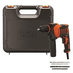 Idea Regalo - BLACK+DECKER BEH710K-QS Trapano a percussione a filo compact 710W a 2 velocità meccaniche + 4 extra punte in valigetta
