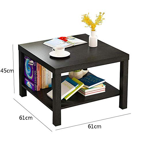 YueQiSong Modern Minimalist Living Room Sofa Side Table Small Coffee Table Living Room Dining Room Small Table, Black, 61 * 61 * 45cm