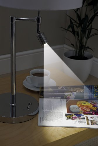 Dual 360 Degree Swing Arm Table Lamp With a Additional LED Reading Light (Silver)