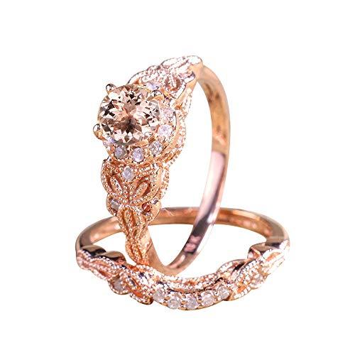 Lucky Mall Frauen Mode Micro Inlay Ring, Zirkon Verlobungsring, Damen Roségold-Ring