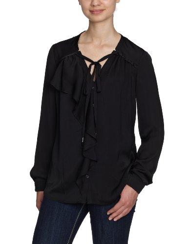 Fornarina Damen Bluse, BONDY-BLACK POLYESTER SHIRT BIR4401C69200 Schwarz (black 00)