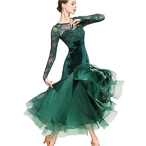 Gatsby Plus Größe Kostüm - CPDZ Mädchen ' Kleider Mädchen ' Kleider Fausinkel Kleid für Erwachsene Latin Dance Kleid Practice Kostüm Gatsby Dress grünen Samt Plus Größe XL 2XL,XXL
