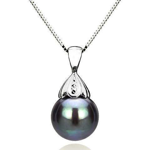 14 K oro blanco 9-10mm color negro colgante de perlas cultivadas de los mares del sur Tahití 45,72 cm caja collar de cadena