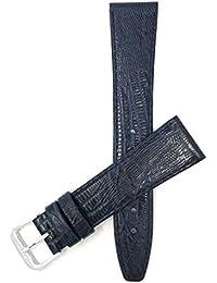 20mm Correa reloj de cuero auténtico, Azul, motivo lézard, también disponible en negro, marrón, marrón rojizo