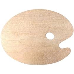 ROSENICE Paleta de madera con cómodo orificio para el pulgar para acrílico y pinturas al óleo
