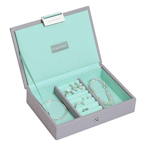 Stackers Schmuckbox mit Fächern und Deckel, Polyurethan, Dove Grey/Mint Green, 18 x 12,5 x 4 cm