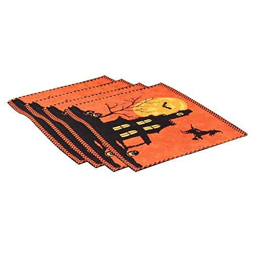 HUAIX Home 13x18,4pcs Set, Halloween Tischset Orange, Hexe Bat Tischdekoration, Perfekte Dinner Parties Scary Movie Nights