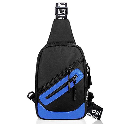 Igemy Schultertaschen Mode Oxford Zipper Brust Crossbody Taschen Blau