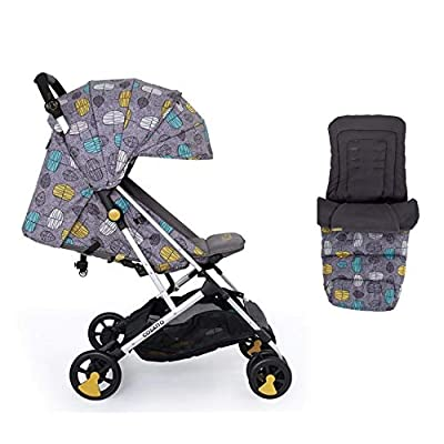 Cosatto Woosh Stroller in Teal Dawn Chorus with footmuff and raincover from Birth to 25kg
