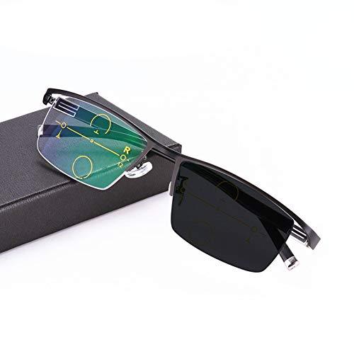 Eyetary Lesebrille Progressive multifokale photochrome Sonnenbrille, Asphärische bifokale Linse Outdoor-Readers für UV400 / Blendschutz/Vergrößerung 1,00 bis 3,00 Stärke,Black,+1.25