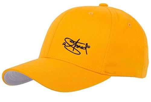2Stoned Flexfit Cap Wooly Combed Gelb mit Stick, Größe XXL (62 cm - 65 cm), Basecap für Herren -