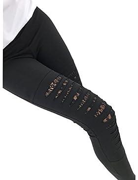 Mujer Pantalones Rotos - Moda Slim Fit Elástico Flacos Pantalones Fashion Agujero Roto Casual Pantalones con Patchwork...