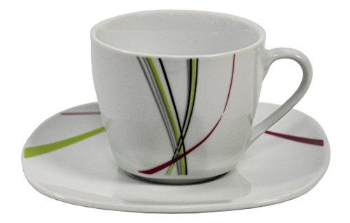 Kaffeetassenset - 4x Kaffeetasse 20cl mit 4x Untertasse 14,5cm Fashion